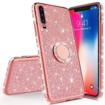JAWSEU Funda Compatible con Samsung Galaxy A50 Brillante Brillo Suave Silicona TPU Gel Funda con 360 Grados Anillo Bling Glitter Sparkle Diamantes ...