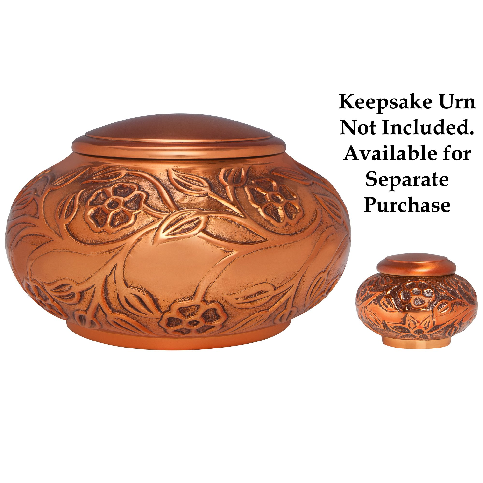 Copper Funeral Urn by Liliane Memorials - Cremation Urn for Human Ashes - Hand Made in Brass - Suitable for Cemetery Burial or Niche - Large Size fits remains of Adults up to 70 lbs by Liliane Memorials (Image #6)