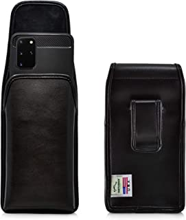 product image for Turtleback Holster Designed for Galaxy S20+ S21+ Plus (2020) Vertical Belt Case Black Leather Pouch with Executive Belt Clip, Made in USA
