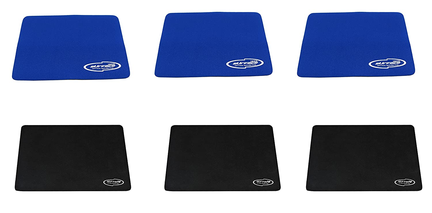 (3 Pack) Combo of 3mm Thickness Speed Rubber Mouse Pad 1030 Skid Resistant Surface-Black/Blue