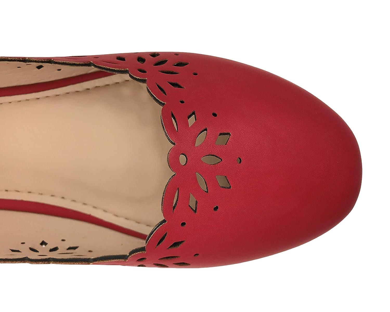 Ballet Flats Laser Cut Outs Scalloped Edge Slip-On Close Toe Shoe