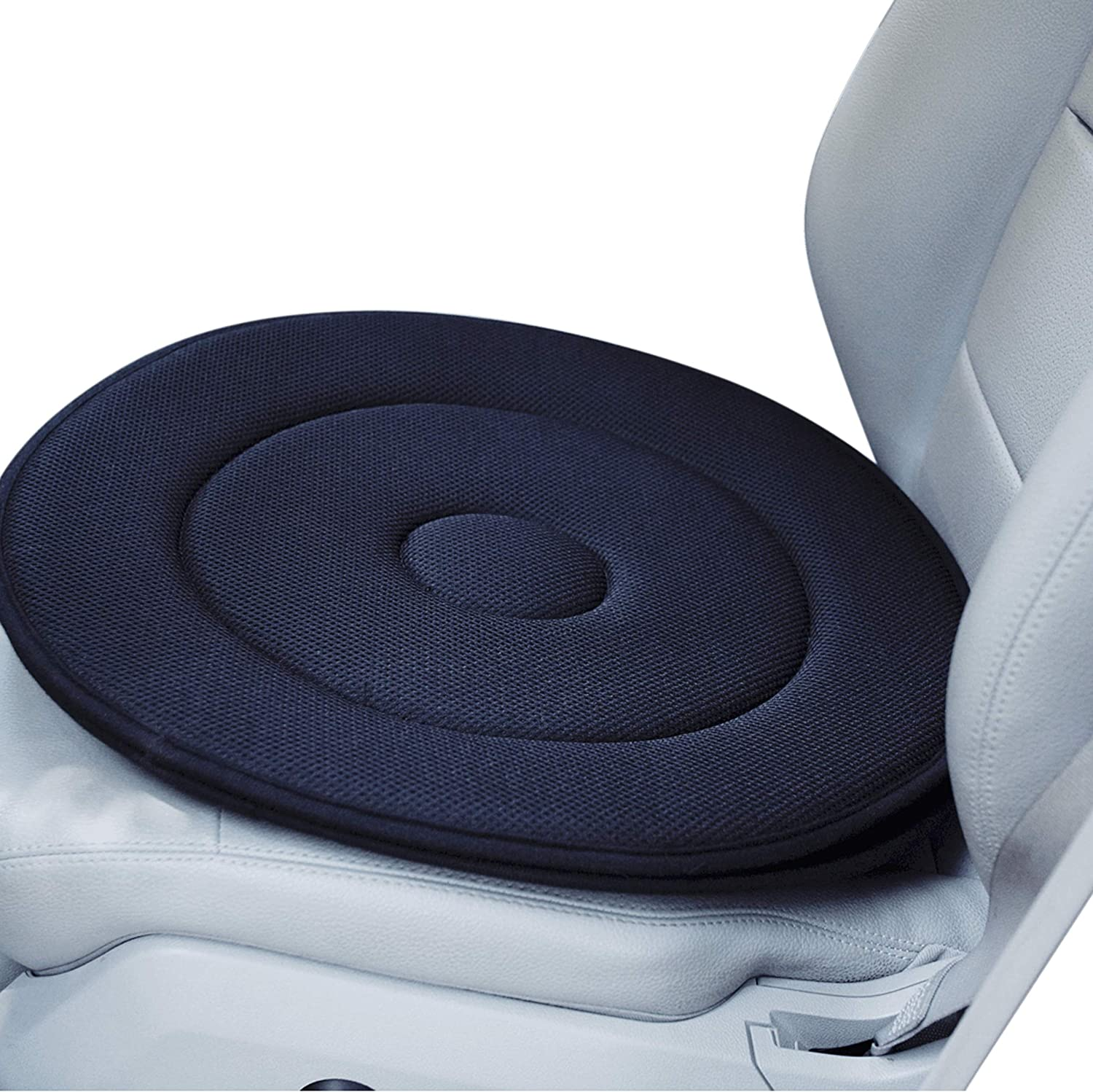 Senior Swivel Memory Foam Orthopedic Seat Cushion Rotating Pain Relieving Seat Pad for Cars Office Chairs or Home (Black)
