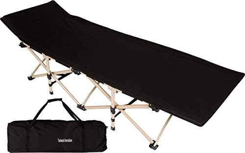 Trademark Innovations 75 Portable Folding Camping Bed Cot – 220 lbs. Capacity Black