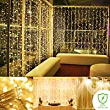 String lights Curtain, 300 LED Icicle Wall Lights, Fairy Indoor Starry Lights 8 Mode For Wedding, Christmas, Holiday, Home decoration, UL Certification(Warm white)