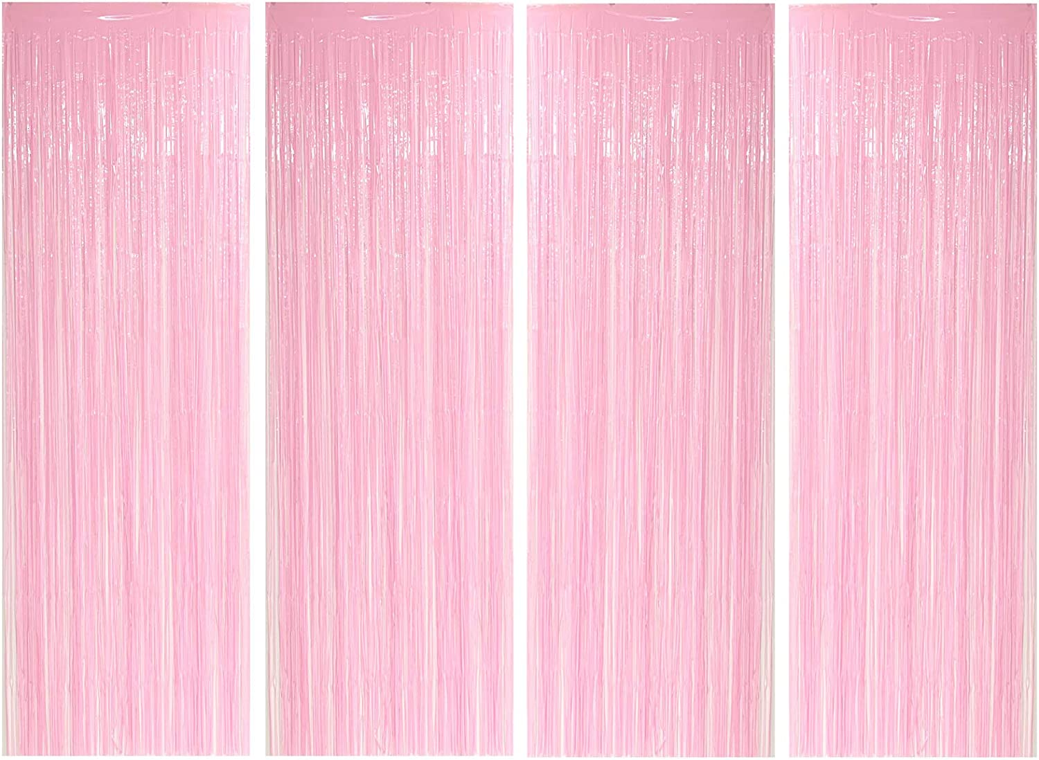 Allgala 4PK 3.3 x 9.8 FT (1x3M) Metalic Tinsel Party Photo Backdrop Curtains Door Fringe Décor-Macaron Pink-BD52659