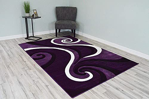 PlanetRugs Premium 3D Effect Hand Carved Thick Modern Contemporary Abstract Area Rug Design 327 Purple 5'3''x7'6''