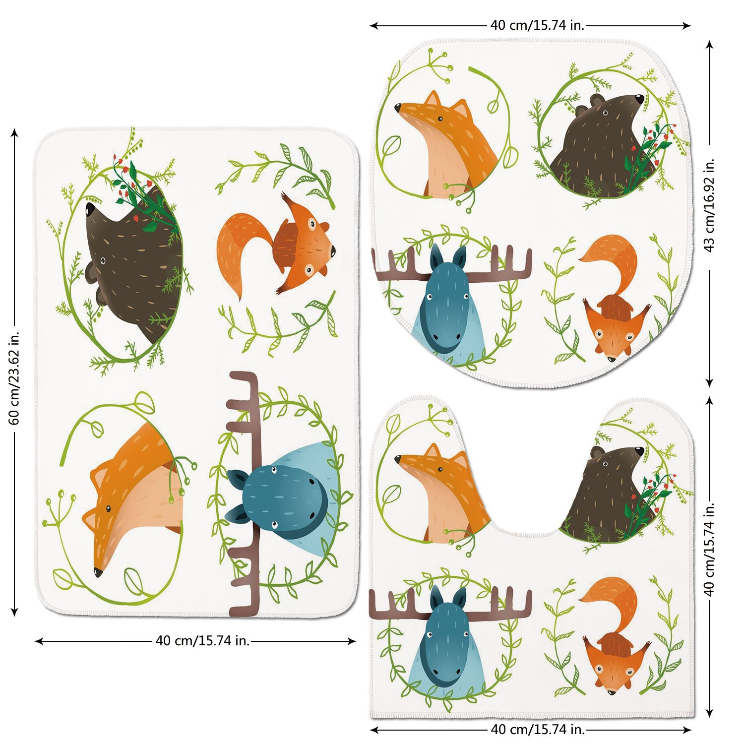3 Piece Bathroom Mat Set,Cabin-Decor,Wild-Forest-Animals-Set-with-Laurel-Branches-Cartoon-Style-Funny-Characters,Multicolor.jpg,Bath Mat,Bathroom Carpet Rug,Non-Slip