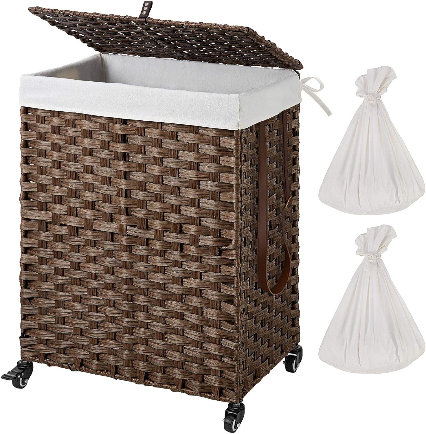 Greenstell Handwoven Laundry Hamper with Wheels and 2 Removable Liner Bags, Synthetic Rattan Clothes Laundry Basket with Lid and Handles, Foldable and Easy to Install (Brown)