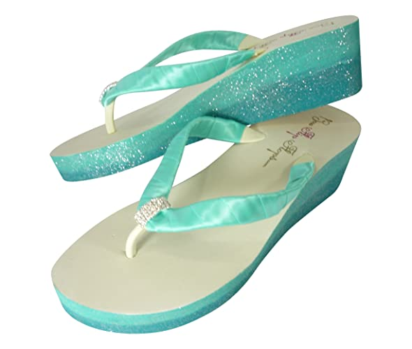 56d2eb5726b91 Image Unavailable. Image not available for. Color  Turquoise   Tropic Green  Blue Wedding Ombre Glitter Wedge Flip Flip Flops