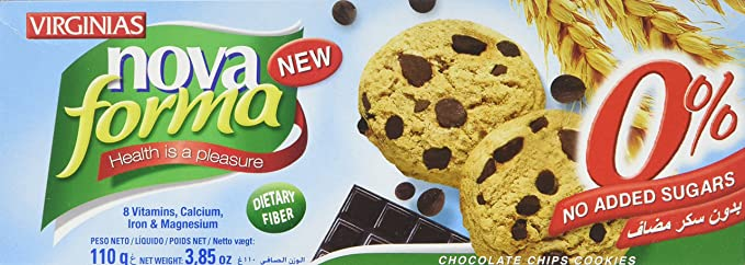 Virginias No Added Sugar Chocolate Chip Cookies 110 G Pack