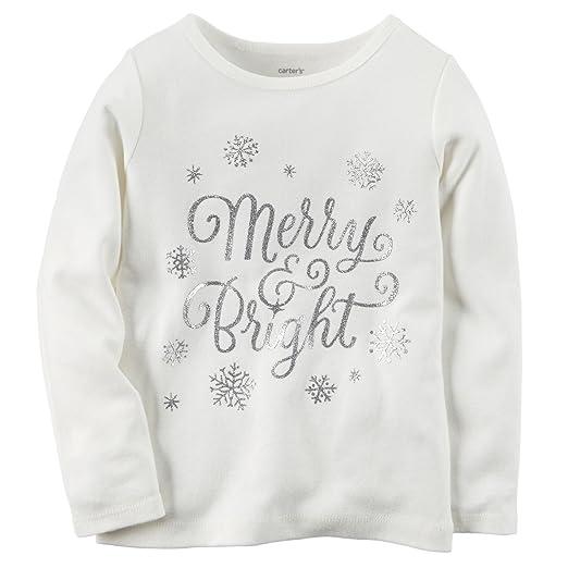 6e2df7e88 Amazon.com: Carter's Big Girl's Merry and Bright Tee (5, White ...