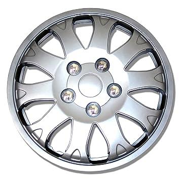 tuningpros wsc-719s14 Tapacubos rueda piel Cover para plata conjunto de 4: Amazon.es: Coche y moto