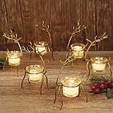 GUOOU 6 Pack Metal Reindeer Tea Light Candle Holders, Glass Votive Candle Holders, Christmas Metal Candle Holder…