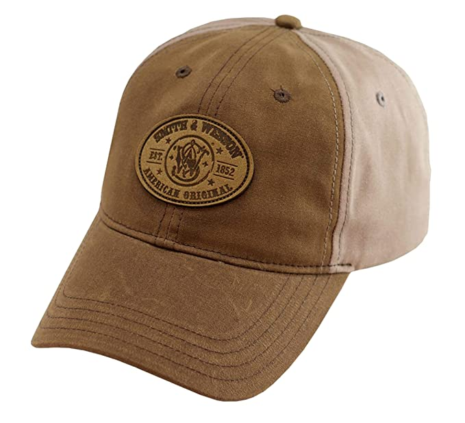 8518ae3c Smith & Wesson S&W Leather Patch Logo Oil Cloth Khaki Cap - Officially  Licensed at Amazon Men's Clothing store: