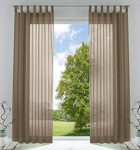 Gardinenbox 2er-Pack Gardinen Juego de Cortinas Transparentes para salón de Voile con Cierre de Cinta de Plomo, 100% poliéster, turrón, HxB 245x140 cm: Amazon.es: Hogar