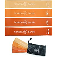 Exercise Bands Resistance Bands | Premium Bonbon Bands Set of 4 with Carry Bag | High Quality Glute Leg Strength Training Rehabilitation Mobility Yoga Pilates Bands