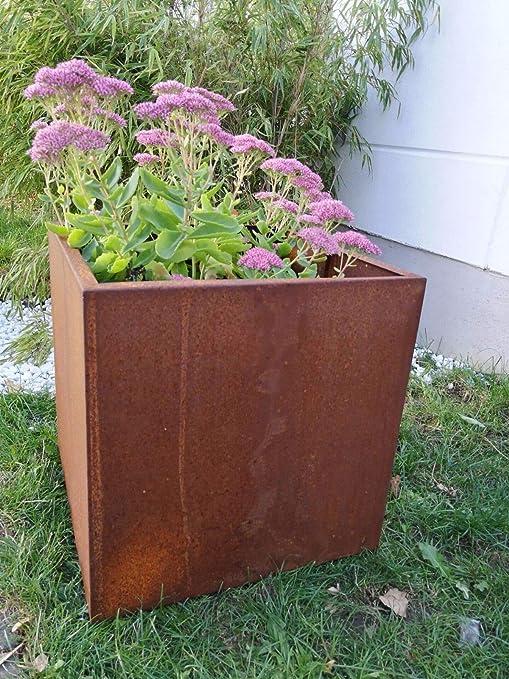Zen Man 101619 - Maceta de acero para jardín, jardinera de metal, maceta de acero corten hecha a mano, 40 x 40 x 40 cm: Amazon.es: Jardín