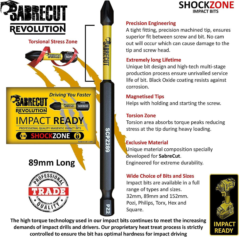 SabreCut SCRH489/_5 Juego de 5 puntas de destornillador de impacto magn/ético H4 de 89 mm para Dewalt Milwaukee Bosch Makita y otros