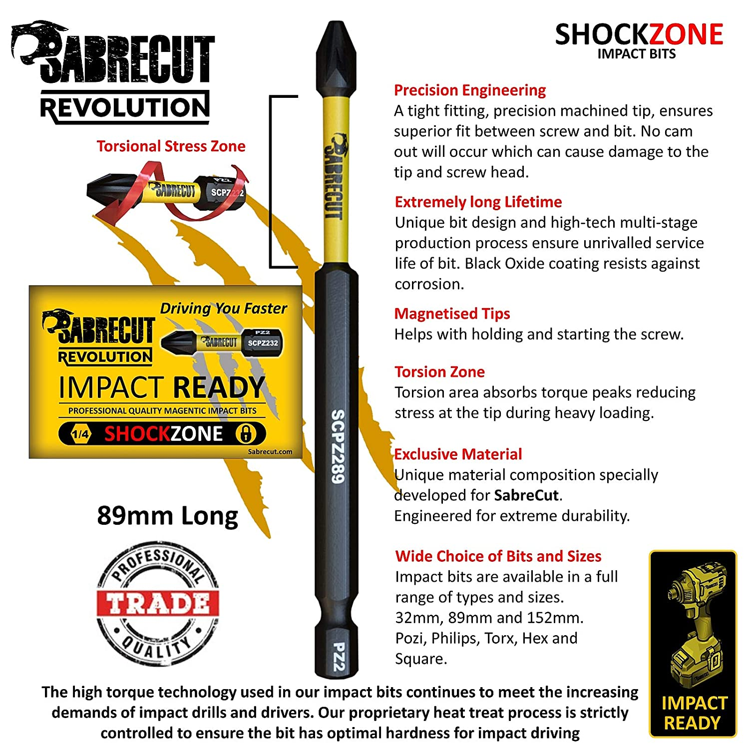 5 x SabreCut SCRSL589/_5 89mm SL5 Slotted Magnetic Impact Screwdriver Driver Bits Set Single Ended Heavy Duty for Dewalt Milwaukee Bosch Makita and Others