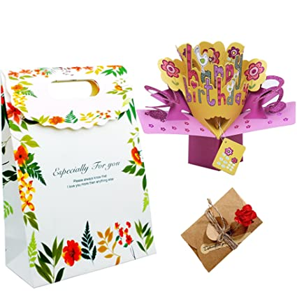 Amazon Birthday Card Handmade 3D Pop Up And Dried Flower Cards Gift Greeting Thank You Office Products