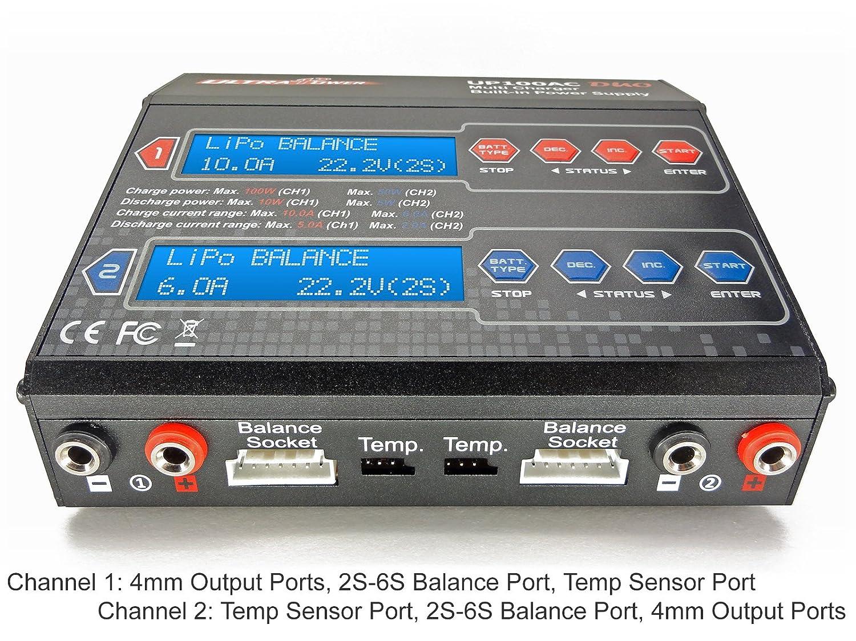 Up100ac Duo Dual 2 Port Ch1 10amps Ch2 6amps 100watts Lipo Balancer Seven Segments Total Liion Life Nicd Nimh Pb Ac Dc Balancing Battery Multi Chemistry