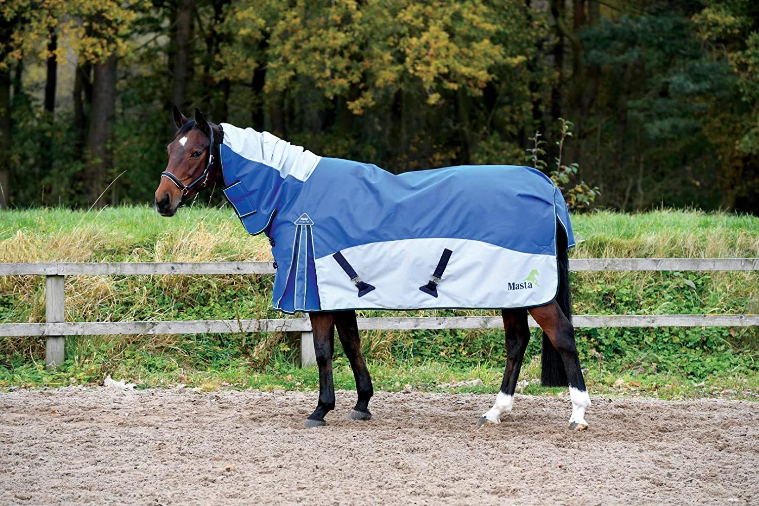 Royal bluee 6 ft 9-Inch Royal bluee 6 ft 9-Inch Masta Field Fixed Neck Turnout Rug