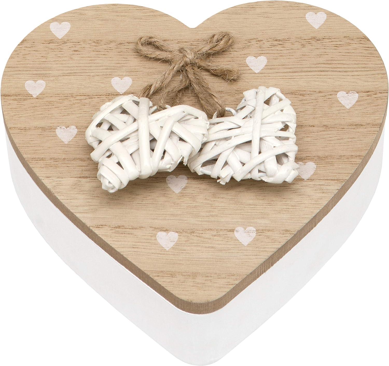 Maturi Woven Heart Wooden Trinket Jewellery Box with Lid