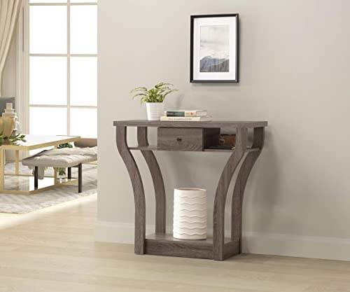 Weathered Grey Finish Curved Console Sofa Entry Hall Table