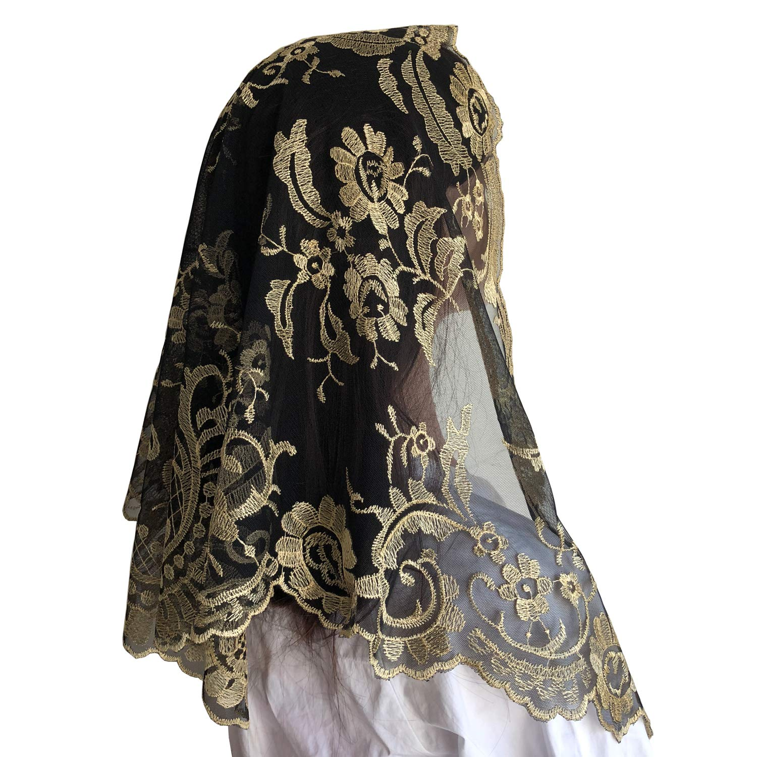 Spanish Mantilla Embroidery Lace Veils Catholic Church Mantillas Chapel Scarf Lace Mass (black and gold), 120cm60cm