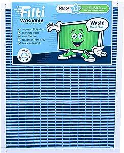 Filti Washable HVAC AC Furnace Filter (20 x 25 x 1) MERV 13 | Reusable Nanofiber Home Air Filter Captures the Smallest Particles & Ultra Fine Pollutants