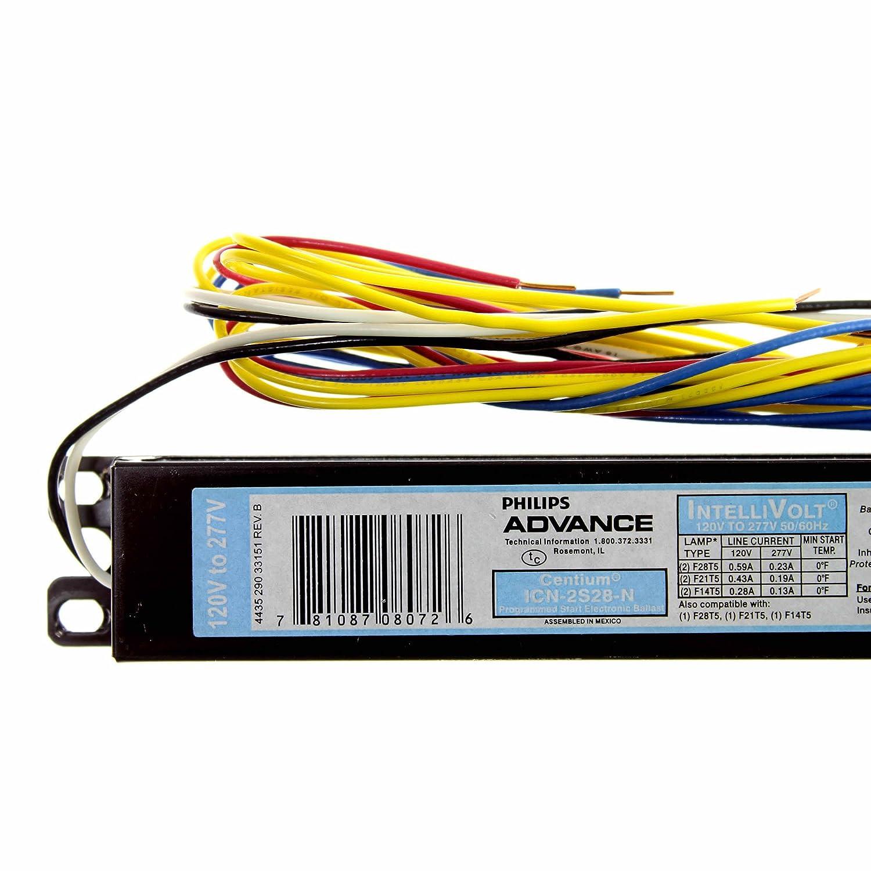 Philips Advance Icn 2s28 N Centium Electronic Ballast 120 277v Www Com Wiring Diagram F28t5 2 Lamp