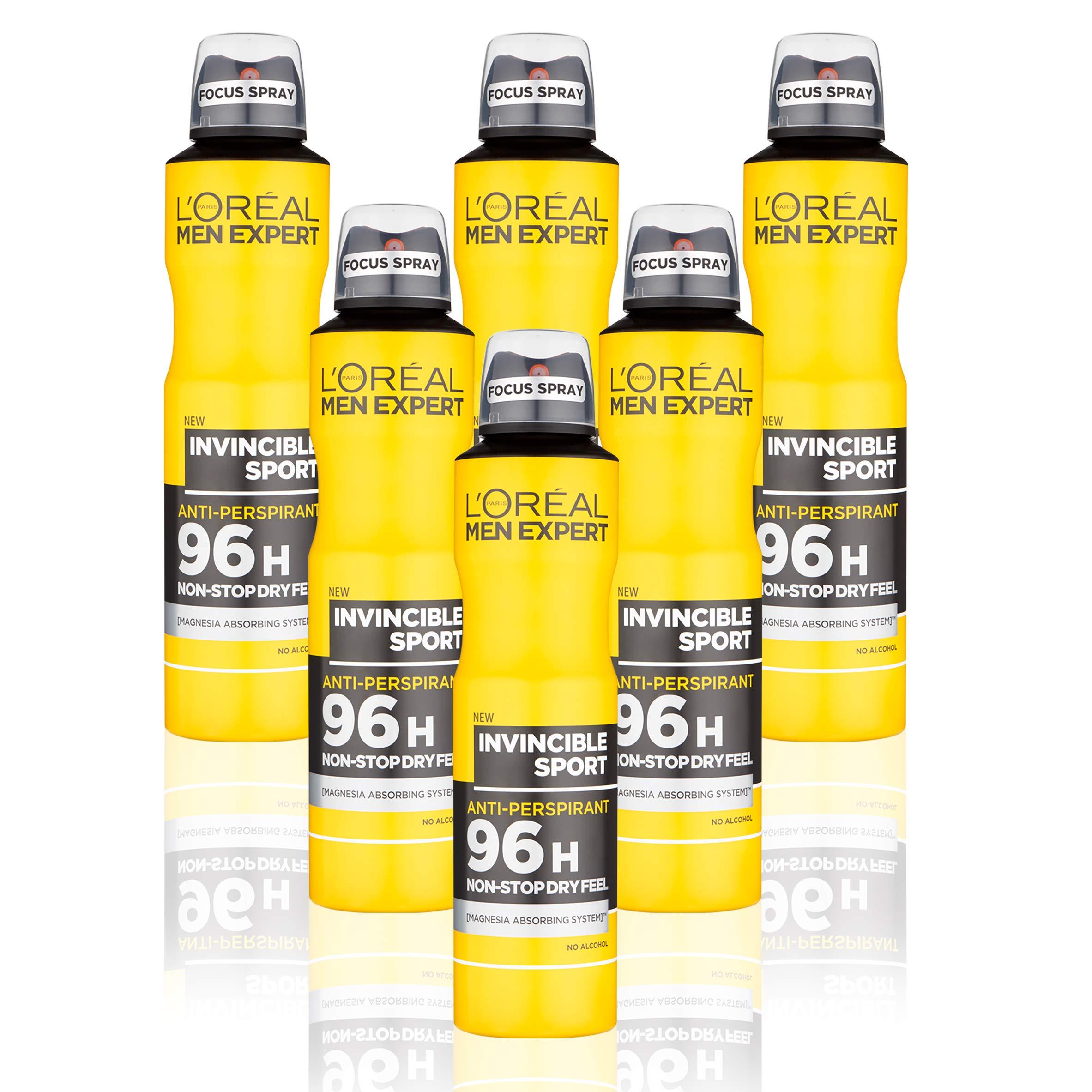 L'Oréal Men Expert Invincible Sport 96H Anti-Perspirant Deodorant for Men, 250 ml, Pack of 6, Bulk Buy