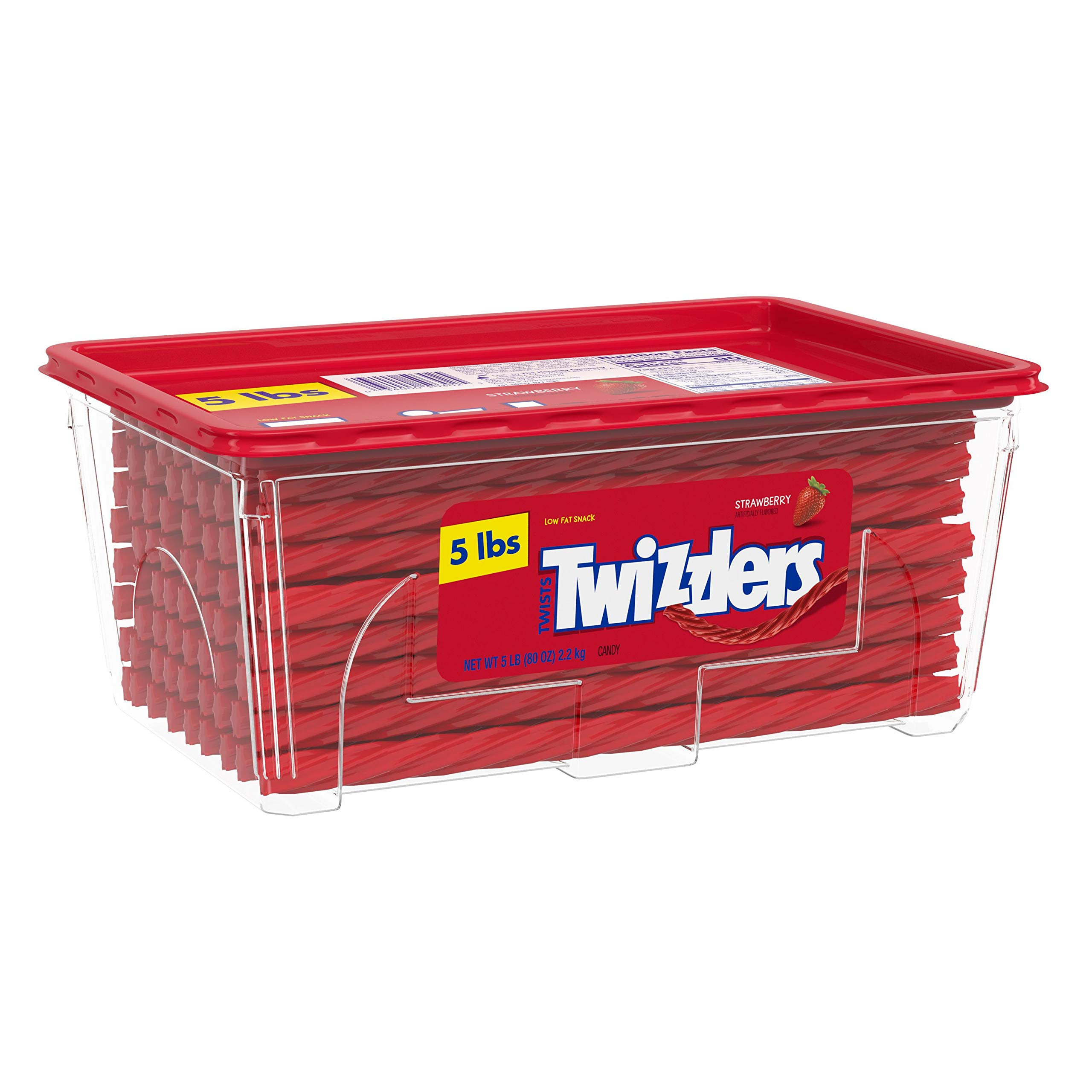TWIZZLERS Twists Strawberry Flavored Chewy Candy, Valentine's Day, 80 Oz. Container