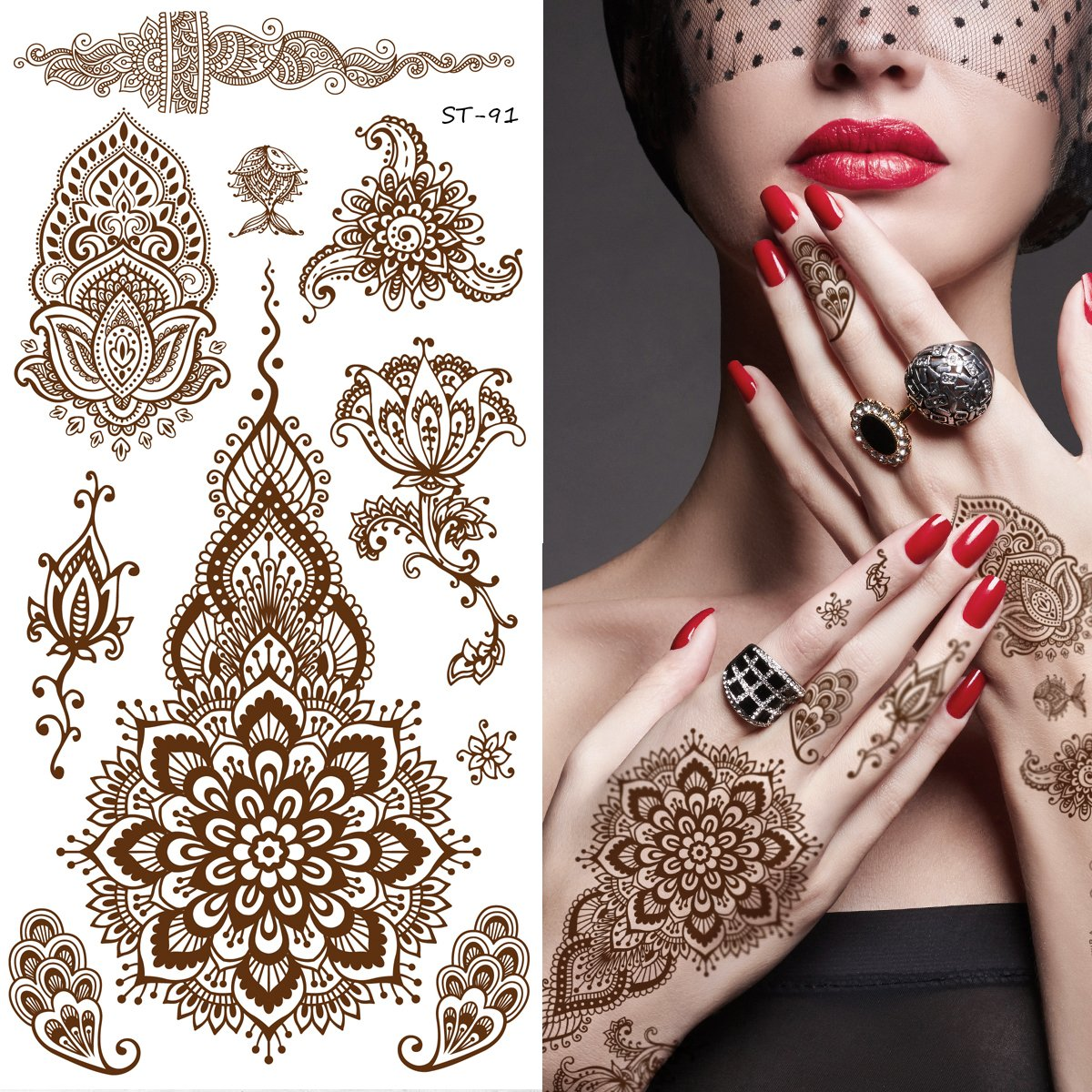 Henna Tattoo Kaufen Amazon: Amazon.com : Aboat Pack Of 9 Sheets Henna Temporary Tattoo