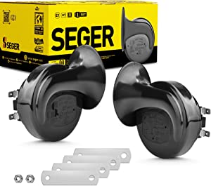 SEGER Trumpet Car Horn Set - High/Low Tone, 12 Volt, Universal Fit, 60B Series 12V Loud Horn with Brackets
