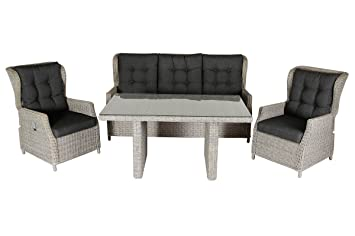 Villana Exklusive Salon de jardin Lounge en polyrotin et aluminium ...