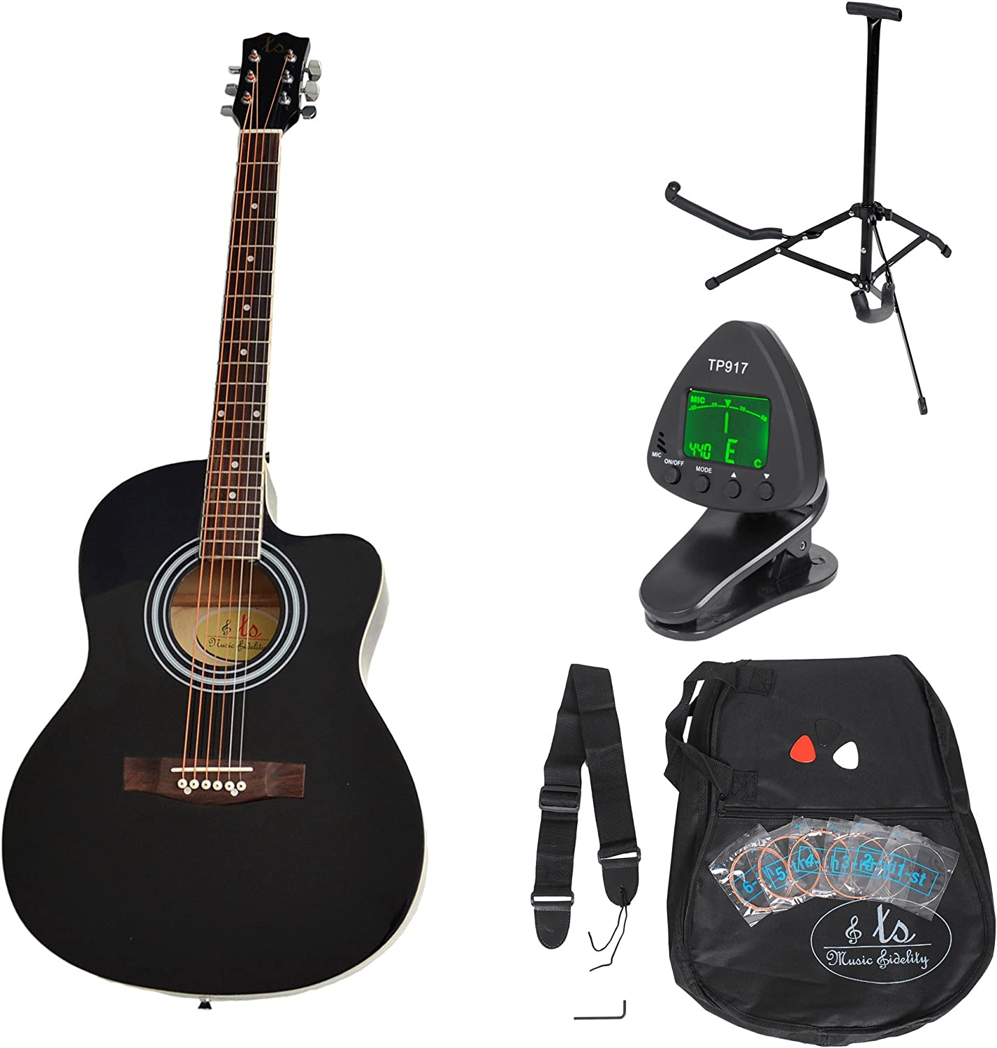 ts-ideen 5331 - Kit de guitarra acústica, color negro: Amazon.es ...