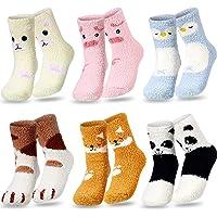 6 Pairs Cute Slipper Socks Winter Fluffy Sleeping Sock Animal Women Fuzzy Sock (Pig and Penguin Series)