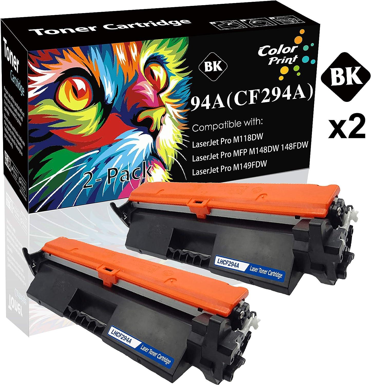 (2-Pack) ColorPrint Compatible HP 94A CF294A 294A Toner Cartridge CF294X 94X Used for PRO M118 M118dw MFP M148 M148dw M148fdw Printer