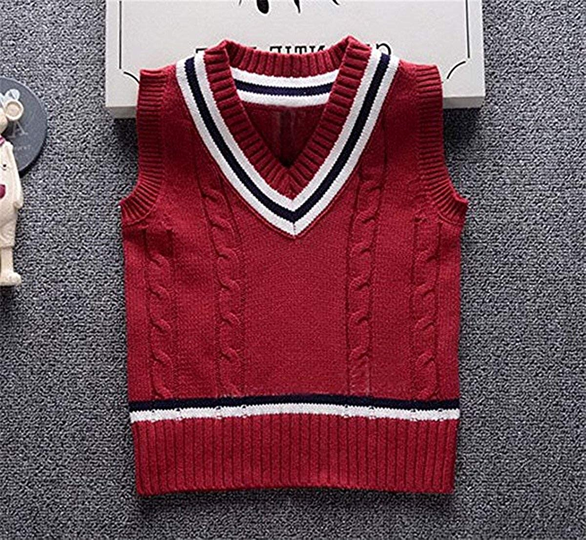 SUNNY Store Baby Boys Toddler V-Neck Solid Color Cable Knit Pullover Sweater Vest