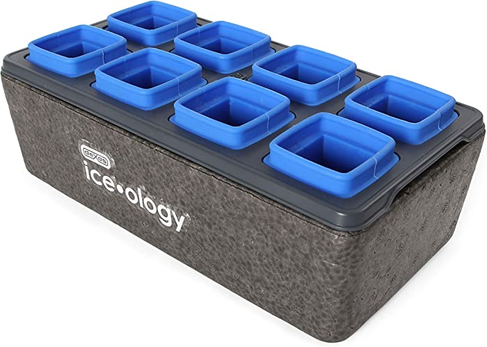 Dexas iceology Silicone Clear Maker for Craft Cocktail Ice 8 Count Cube Tray, 1.375 Inch Square