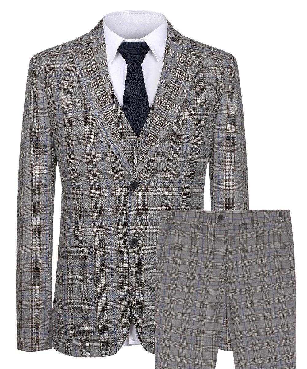 CMDC Men's Blazer Coat Casual Tartan 3 Pieces Notch Lapel Suit Vest Trousers(Grey,54)
