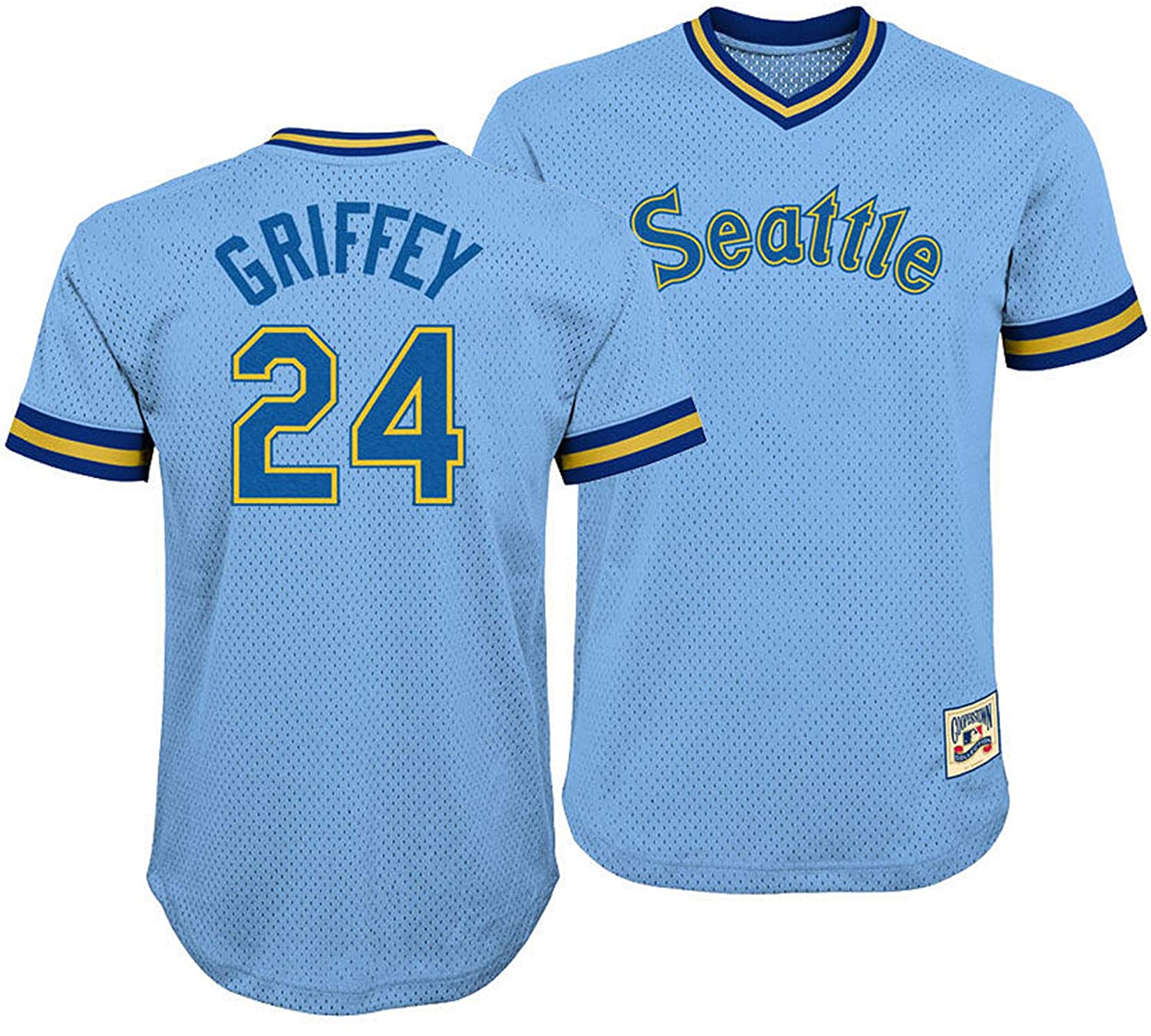 sports shoes 87cb9 c7303 Ken Griffey Jr. Seattle Mariners #24 Blue Youth V Neck Mesh Jersey