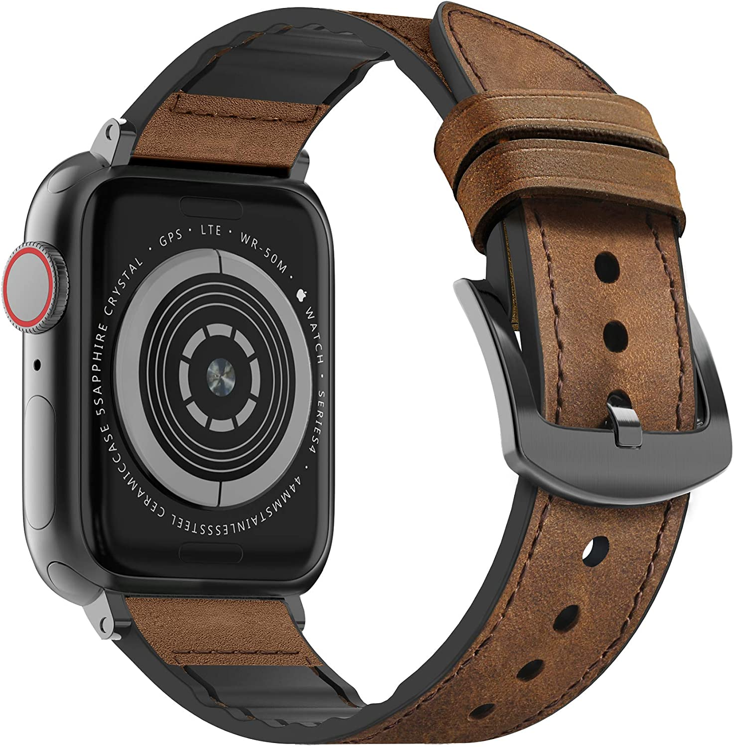 MARGE PLUS Compatible Apple Watch Band 44mm 42mm, Sweatproof Hybrid Genuine Leather and Silicone Sports Watch Band Replacement for iWatch SE Series 6 5 4 3 2 1, Brown/Space Gray