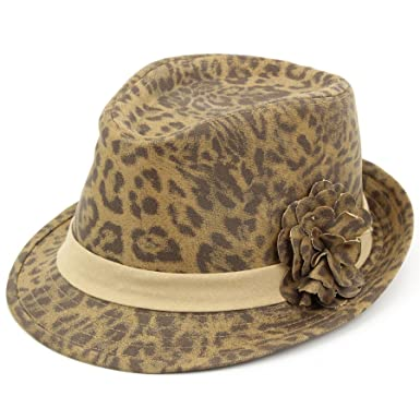54afebbba80 Hawkins Leopard trilby hat print spotted cap flower women - 57 Brown   Amazon.co.uk  Clothing