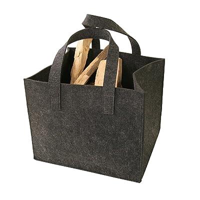 Kamino-Flam 339501 - Bolsa de fieltro para leña (36 x 42 x 34 cm, con 2 asas), color gris oscuro