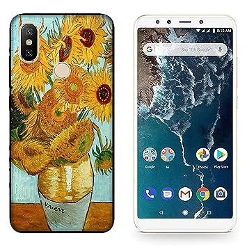 Funda Mi A2 Carcasa Xiaomi Mi A2 Vincent Van Gogh Jarron de girasoles / Cubierta Imprimir también en los lados / Cover Antideslizante Antideslizante ...