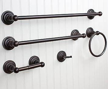 windsor 5 pc oil rubbed bronze bathroom accessories set towel bar ring tissue - Bathroom Accessories Towel Bars