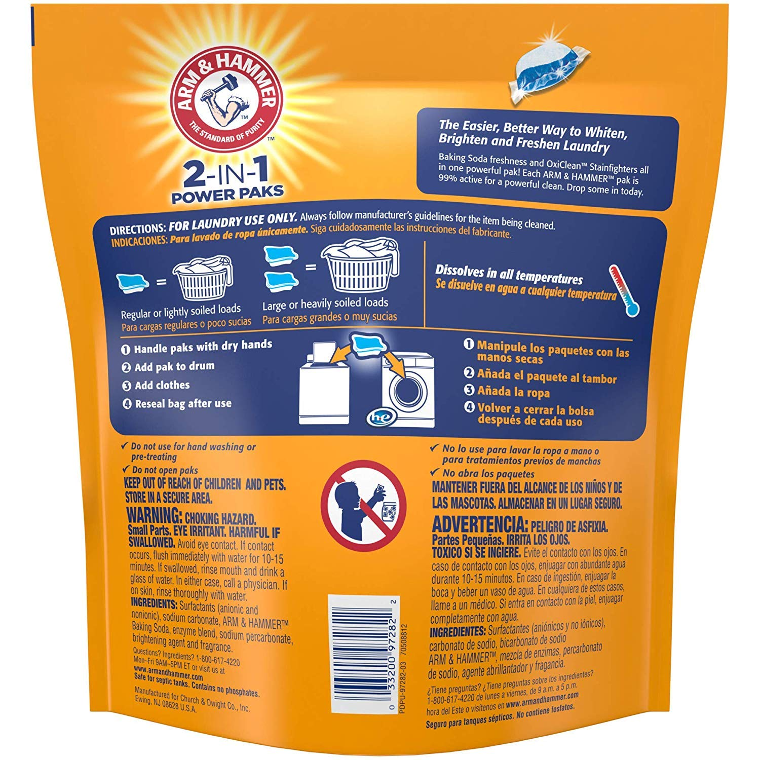 Amazon.com: Arm & Hammer 2-in-1 Laundry Detergent Power Paks (2-Pack ...