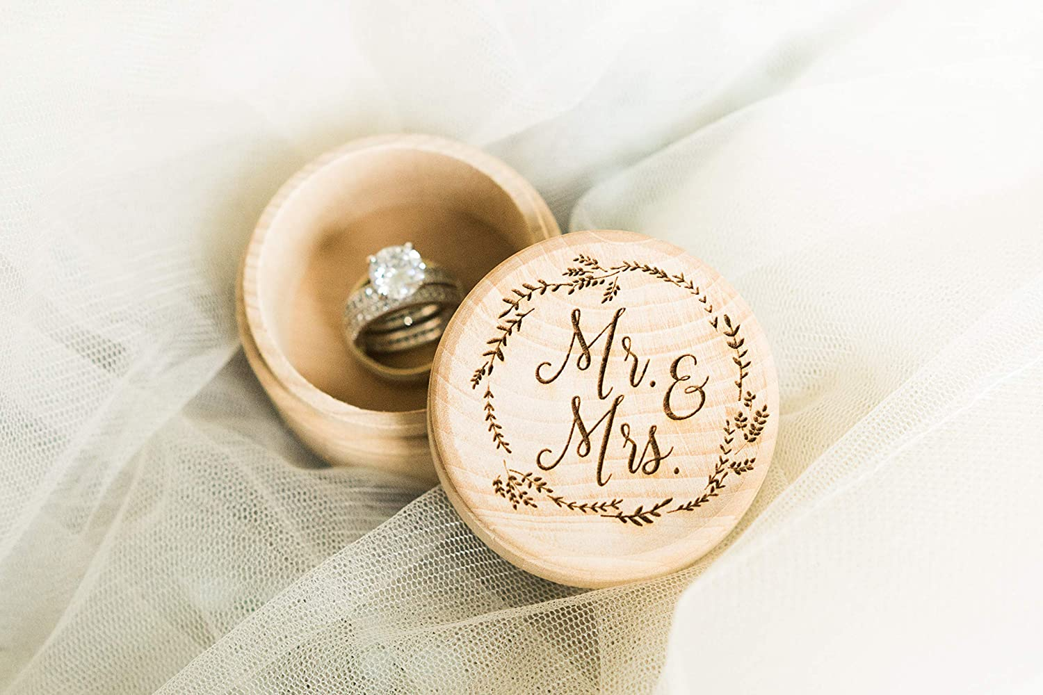 Engraved Wood Mr and Mrs Ring Bearer Box for Wedding Rings, Gift for Bridal Shower, 2.25